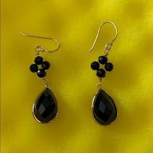 .925 STERLING & BLACK STONE EARRINGS